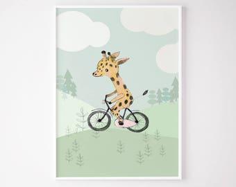 Giraffe riding a bicycle, Boys room decor, boys wall decor, baby shower boy, art for boys room, kids room decor, boy nursery decor