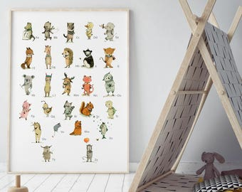 Alphabet poster, nursery decor, Nursery decor animals, Woodland nursery, ABC wall art, Kids room decor, Alphabet wall art, Alphabet print