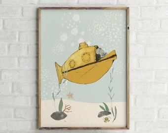 Yellow submarine - Boy Art - Holli - Nursery Wall Art - Nursery Decor - Childrens Art - Kids Wall Art - Nursery Art