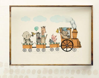 Train animal party - Boy Art - Holli - Nursery Wall Art - Nursery Decor - Childrens Art - Kids Wall Art - Boy Nursery Art