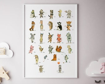 English alphabet poster, nursery decor boy, Nursery decor animals, boy room wall art, nursery wall art, Alphabet poster, Alphabet print