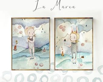 La Marea - Nursery Wall Art, Nursery Decor, Childrens Art, Kids room decor, Nursery Art, nursery decor girl, nursery girl, wall art