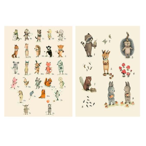 Baby Nursery Art Print Dog Abc Nursery Decor Alphabet Print: Items Similar To Nursery Wall Art, Baby Decor, Children
