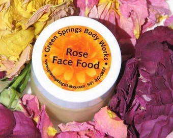 Rose Face Food Facial Cream, Sensitive Skin Moisturizer, Organic Skincare
