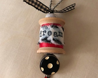 Handcrafted Vintage THREAD SPOOL PENDANT on ball chain