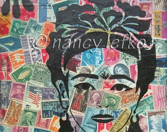 frida stamp of approval - 9 x 11 ORIGINAL MIXED MEDIA by Nancy Lefko