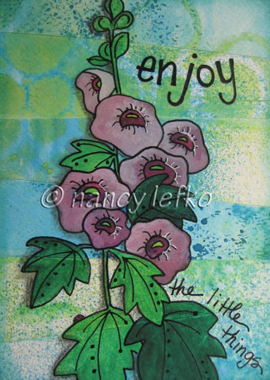 enjoy  5 x 7 ORIGINAL MIXED MEDIA by Nancy Lefko image 1