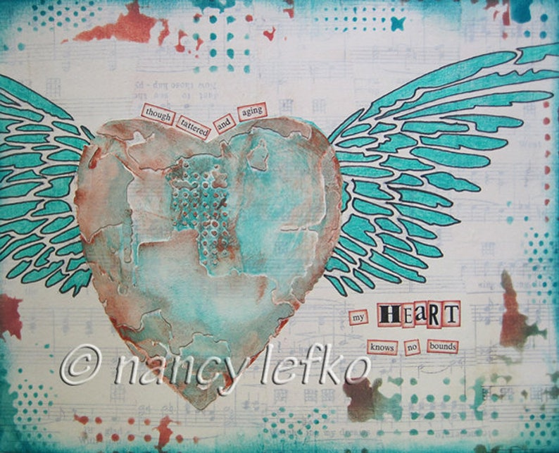 heart knows no bounds  8 x 10 ORIGINAL MIXED MEDIA by Nancy image 0