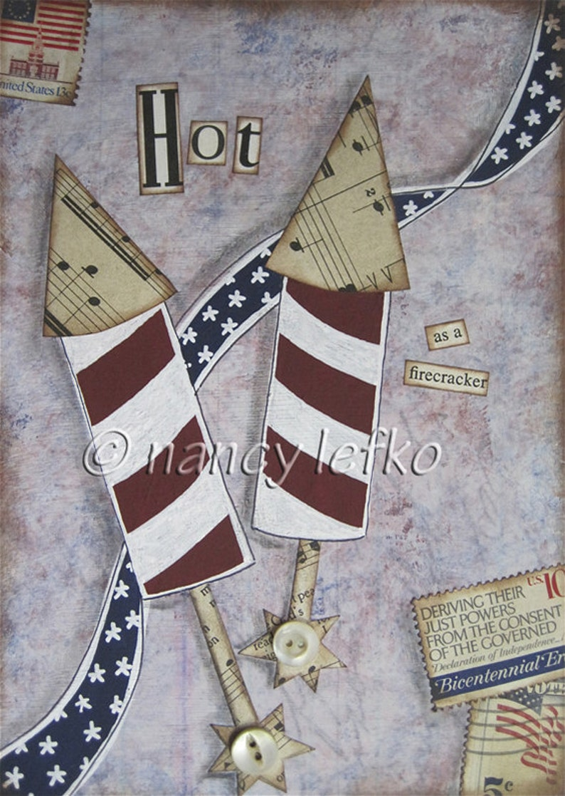 hot as a firecracker  5 x 7 ORIGINAL COLLAGE by Nancy Lefko image 0