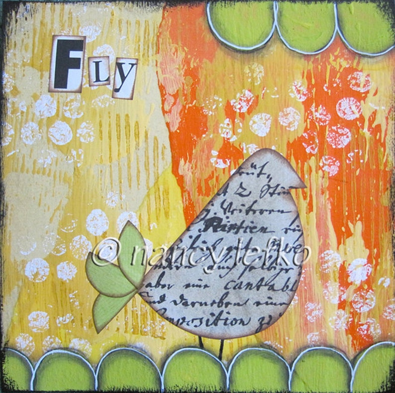 fly  6 x 6 ORIGINAL COLLAGE by Nancy Lefko image 0