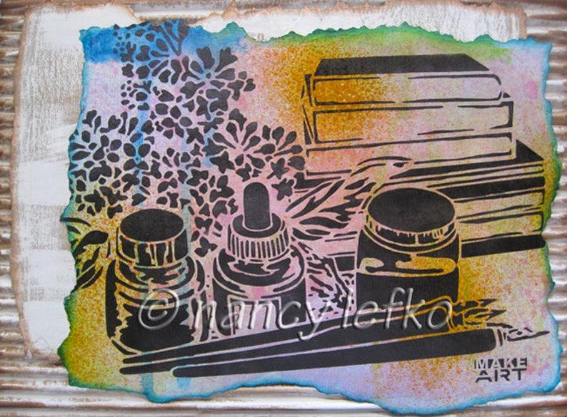 make art  9 x 12 ORIGINAL MIXED MEDIA by Nancy Lefko image 0