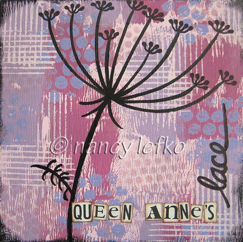 queen annes lace  6 x 6 ORIGINAL COLLAGE by Nancy Lefko image 1
