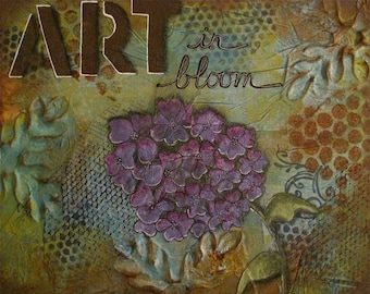 art in bloom - 8 x 10 ORIGINAL COLLAGE by Nancy Lefko