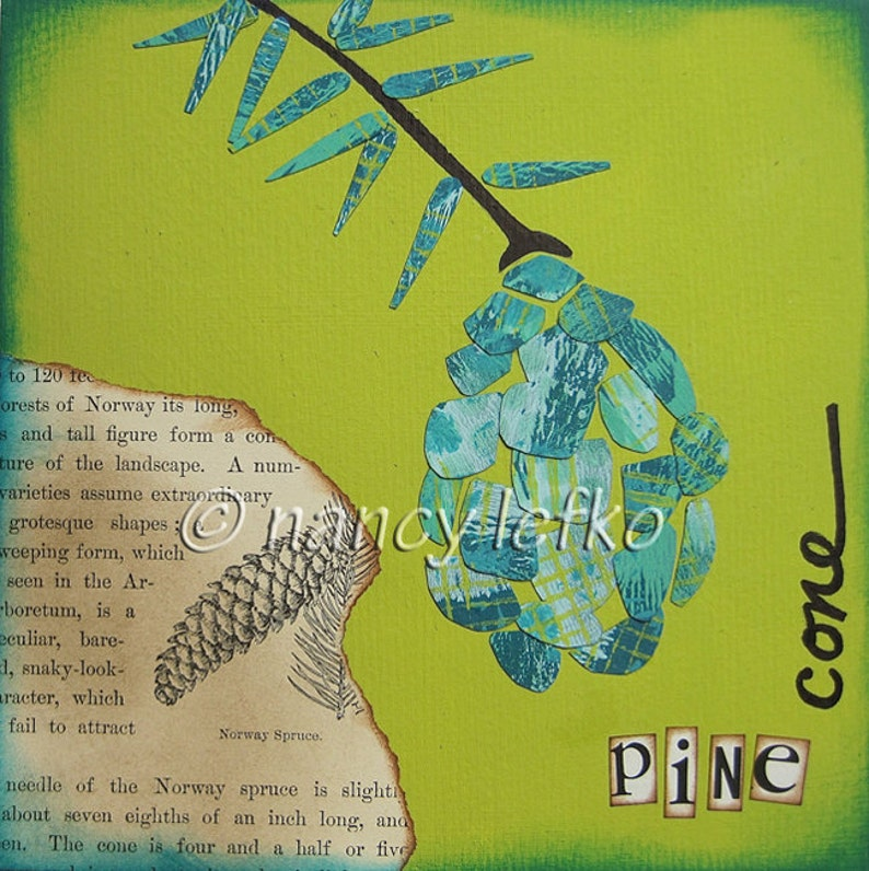 pinecone  6 x 6 ORIGINAL COLLAGE by Nancy Lefko image 1