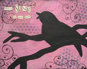 carry a song in your heart - 5 x 7 ORIGINAL COLLAGE by Nancy Lefko