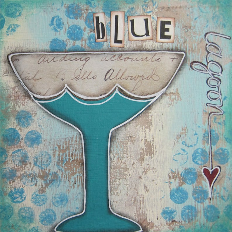 blue lagoon  5 x 5 ORIGINAL COLLAGE by Nancy Lefko image 1