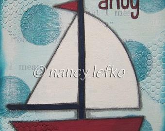 ahoy - 8 x 8 ORIGINAL COLLAGE by Nancy Lefko