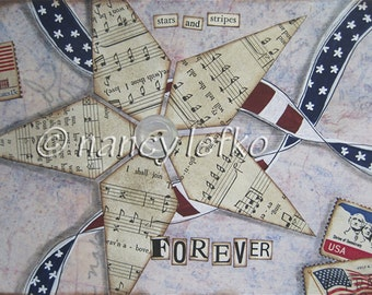 stars and stripes forever - 5 x 7 ORIGINAL COLLAGE by Nancy Lefko