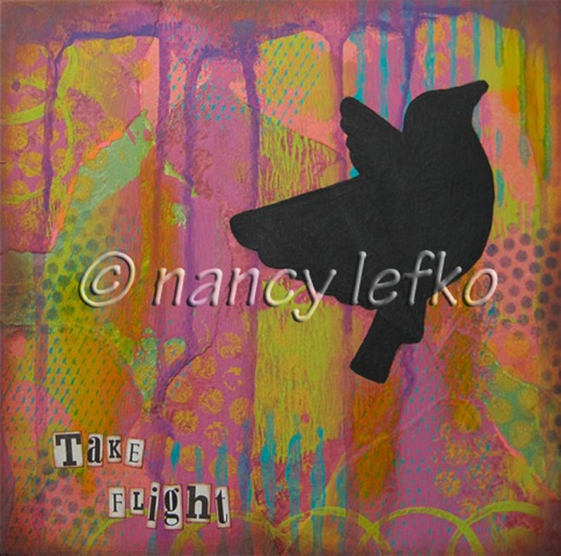 take flight  8 x 8 Original Collage on Canvas by Nancy Lefko image 0