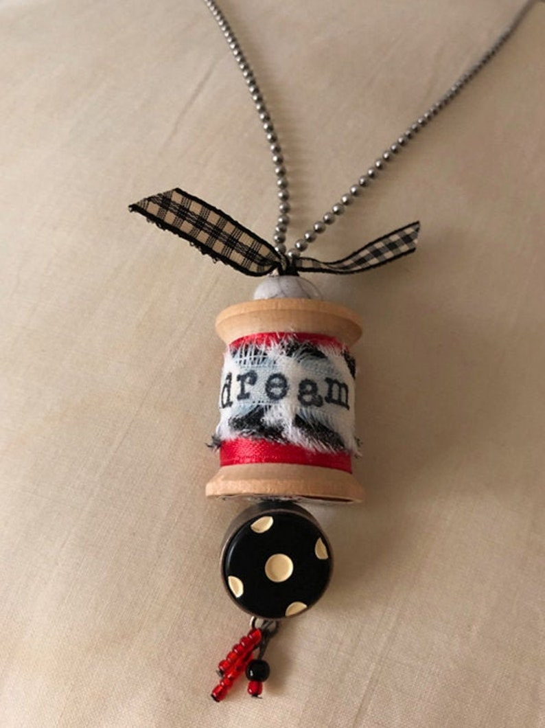 Handcrafted Vintage THREAD SPOOL PENDANT on ball chain image 1