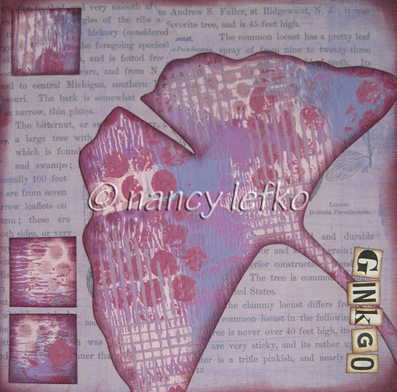 ginkgo  6 x 6 ORIGINAL COLLAGE by Nancy Lefko image 1