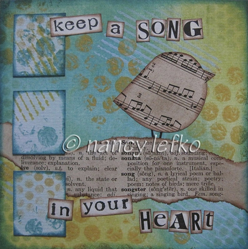 song in your heart  5 x 5 ORIGINAL COLLAGE by Nancy Lefko image 0