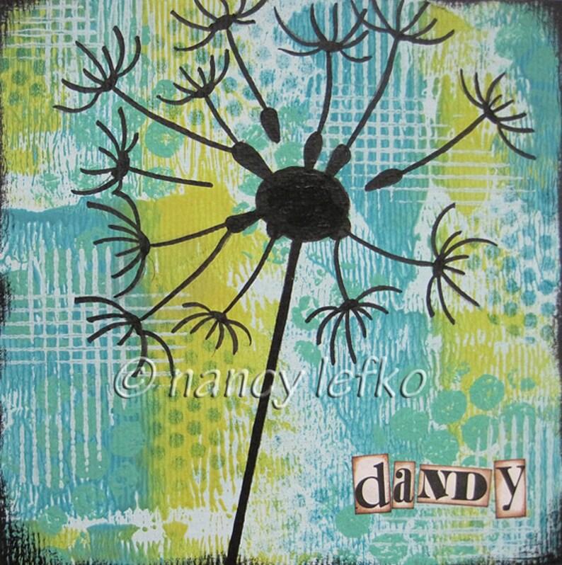dandy  6 x 6 ORIGINAL COLLAGE by Nancy Lefko image 0