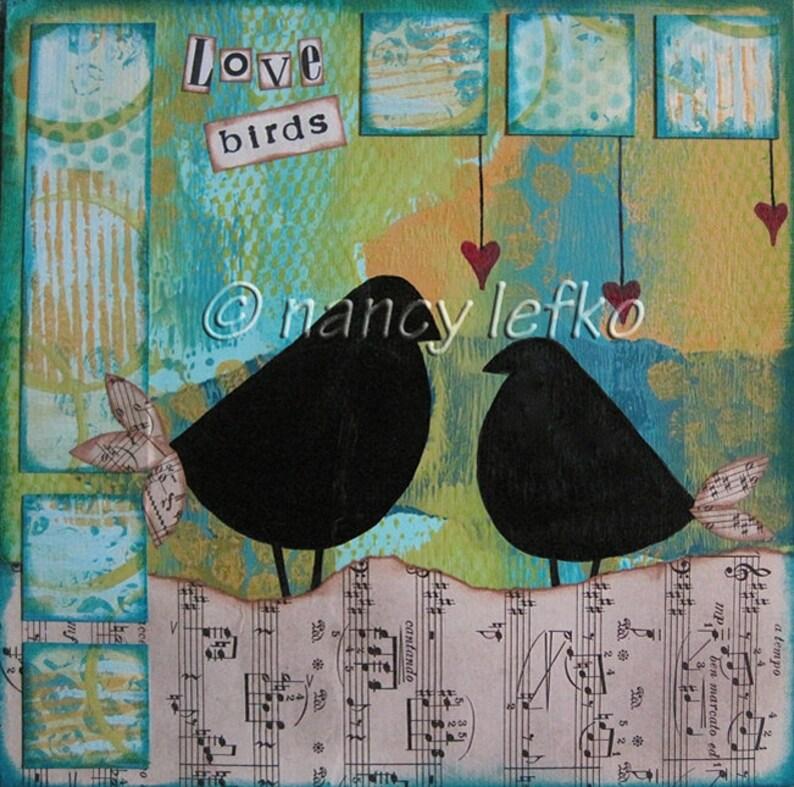 love birds  8 x 8 ORIGINAL COLLAGE by Nancy Lefko image 0
