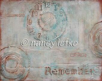 remember - 8 x 10 ORIGINAL MIXED MEDIA by Nancy Lefko