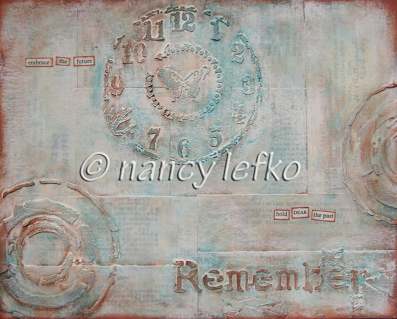 remember  8 x 10 ORIGINAL MIXED MEDIA by Nancy Lefko image 0