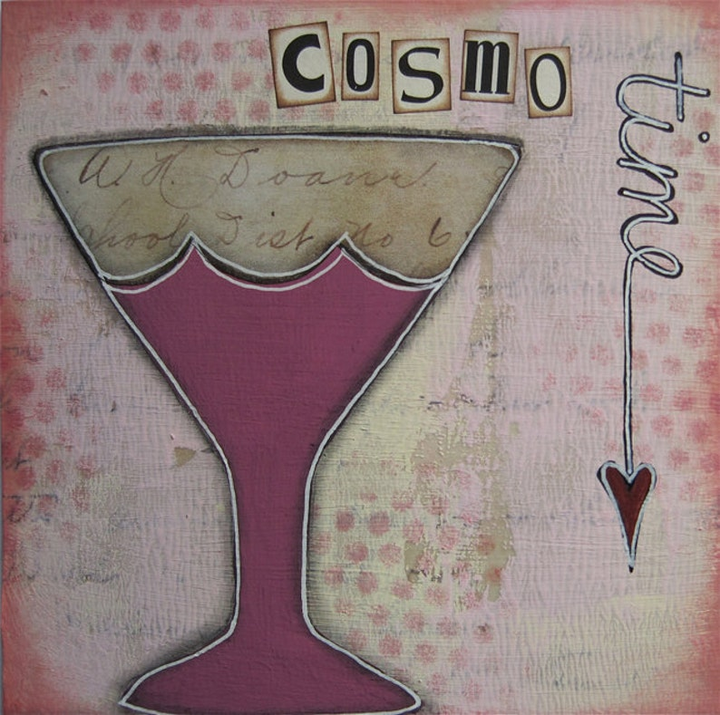 cosmo time  5 x 5 ORIGINAL COLLAGE by Nancy Lefko image 1