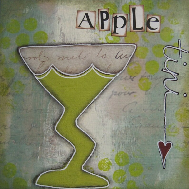 apple tini  5 x 5 ORIGINAL COLLAGE by Nancy Lefko image 0
