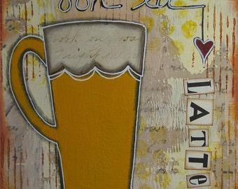 ooh la latte - 5 x 5 ORIGINAL COLLAGE by Nancy Lefko