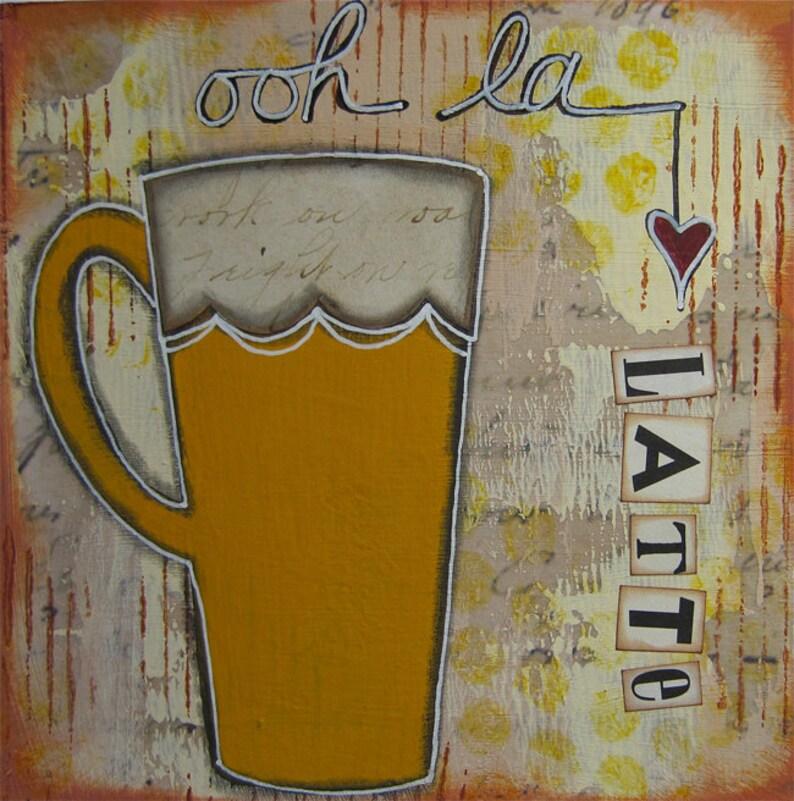 ooh la latte  5 x 5 ORIGINAL COLLAGE by Nancy Lefko image 1
