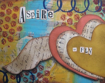 aspire to fly - 5 x 7 ORIGINAL COLLAGE by Nancy Lefko