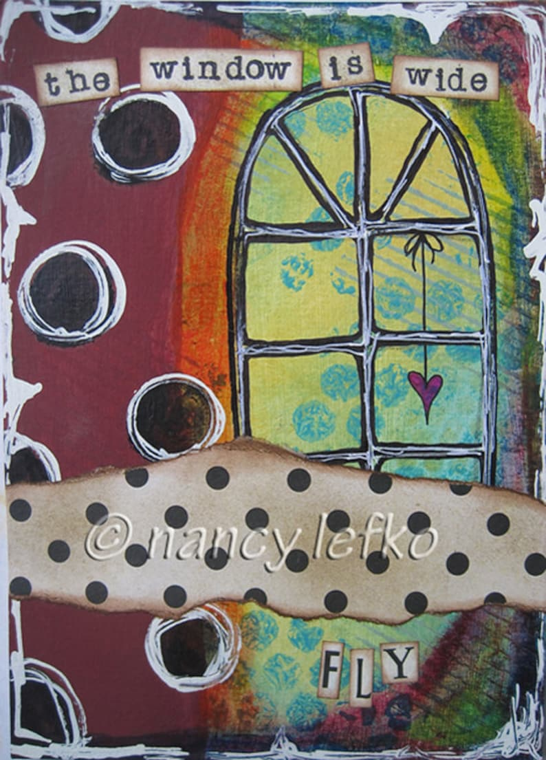 the window is wide  5 x 7 ORIGINAL COLLAGE by Nancy Lefko image 0