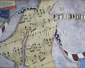 let freedom ring - 5 x 7 ORIGINAL COLLAGE by Nancy Lefko