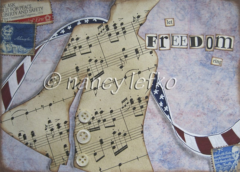 let freedom ring  5 x 7 ORIGINAL COLLAGE by Nancy Lefko image 1