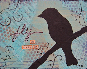 fly - 5 x 7 ORIGINAL COLLAGE by Nancy Lefko