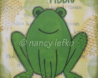 ribbit - 8 x 8 ORIGINAL COLLAGE by Nancy Lefko