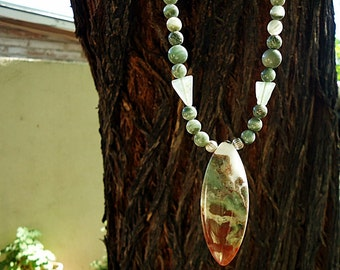 SALE, Serpentine, Agate, & Quartz Necklace