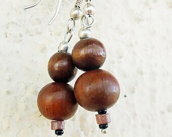 SALE, Natural Teak Earrings