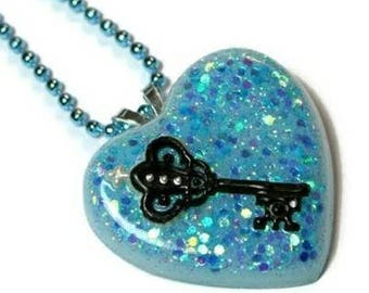 Blue Heart Necklace, Pastel Goth, Glitter Resin, Key to My Heart, Fairy Kei, Soft Grunge Sparkle Jewelry