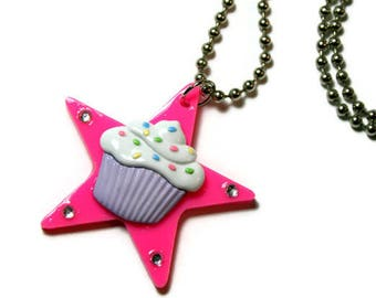 Cupcake Necklace, Pink Star Pendant, Kitsch Kawaii Pastel Jewelry