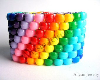 Super Rainbow Kandi Cuff, Rave, Plur Jewelry