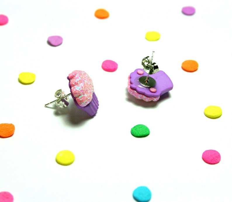 Food Jewelry Glitter Frosting Stud Earrings Purple Cupcake Earrings Kawaii Kitsch Studs