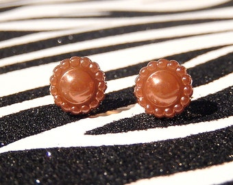 Brown Flower Earrings, Copper Pearly Floral Studs, Simple Minimalist Jewelry, Bronze