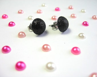 Black Glitter Stud Earrings, Pastel Goth, Simple Round Studs, Soft Grunge, Minimalist