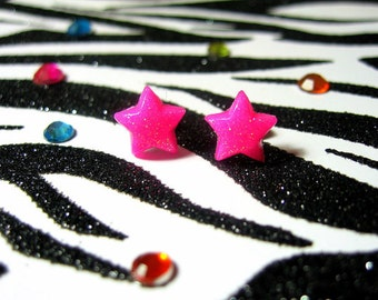 Pink Star Earrings, Hot Pink Stars, Neon Stud Earrings, Rave Jewelry, Celestial Studs