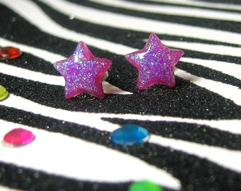 Purple Star Earrings, Plum Purple Studs, Minimalist, Kitsch Kawaii